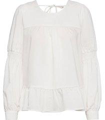 blouse w. cuffs and volume body blus långärmad vit coster copenhagen