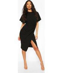 angel sleeve twist detail midi dress, black