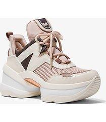 mk sneaker olympia in pelle e tela - rosa tenue (rosa) - michael kors