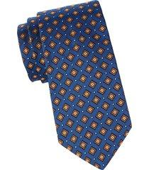 brooks brothers men's geometric silk tie - blue
