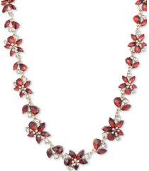 "anne klein gold-tone stone & crystal flower collar necklace, 16"" + 3"" extender"