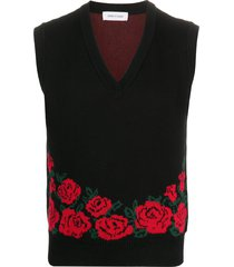 ernest w. baker floral-pattern v-neck vest - black