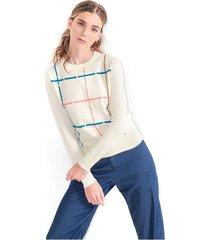 sweater para mujer a cuadros, cuello redondo, manga larga. semiajustado color-blanco-talla-xl