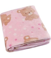 cobertor bebê microfibra flannel camesa rosa urso - kanui