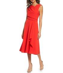 women's donna ricco asymmetrical sleeveless crepe midi dress, size 16 - red