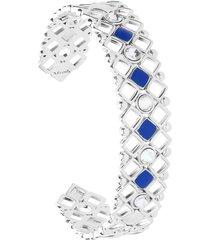 bracciale rigido in ottone rodiato con cristalli e smalto blu spessore 1,4 cm per donna