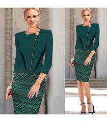 vestido de trabajo elegante para mujer ropa de trabajo de oficina ol vestido a media pierna con lápiz ol-verde