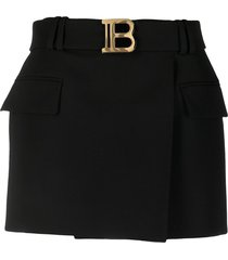 balmain low-rise belted skirt - black