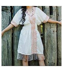 cotton dress, 'thai tribal in white' (thailand)