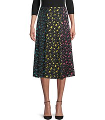 jenessa silk- blend abstract midi skirt