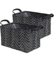 design imports polyethylene coated woven paper laundry bin tribal chevron rectangle small set of 2
