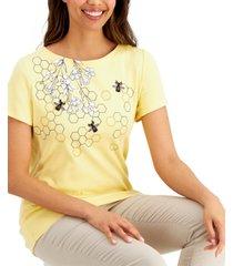 karen scott cotton honeycomb hide-graphic top, created for macy's
