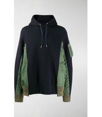 sacai panelled hoodie