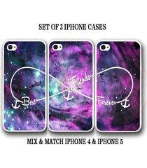 custom purple pink mint nebula bff best friends iphone case set 3 iphone 5 cases