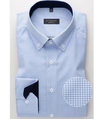 eterna overhemd licht geruit twill button down comfort fit