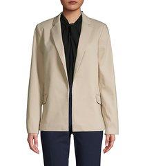 notch collar open-front jacket