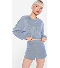 womens back to the basics petite top and shorts lounge set - blue