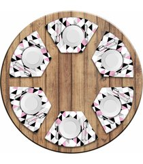 jogo americano - love decor para mesa redonda triângulos rosa kit com 6 peças