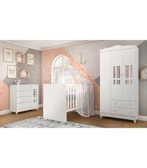 dormitório guarda roupa ariel 3 portas fraldário berço gabi branco carolina baby