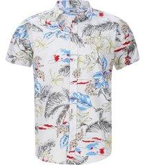 camisa estampado flores color blanco, talla xs