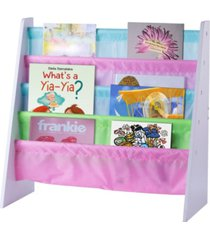 basicwise 4 tiered colorful lined kids sling magazine book rack