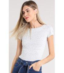 blusa feminina básica botonê manga curta decote redondo cinza mescla claro