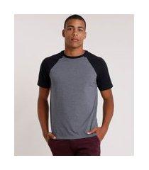 camiseta masculina básica raglan manga curta gola careca cinza mescla