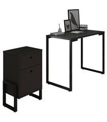 conjunto escritã³rio mesa escrivaninha 90cm e gaveteiro 2 gavetas new port f02 preto - mpozenato - preto - dafiti