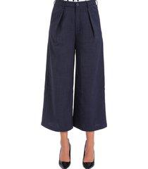 pantalón cropped pinzas azul nicopoly