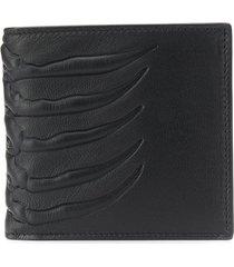 alexander mcqueen rib cage bi-fold wallet - black