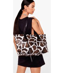 womens want you giraffe me crazy oversized tote bag - brown