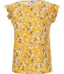 blusa mujer flores blancas color amarillo, talla l