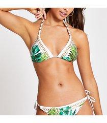 river island womens white leaf printed triangle bikini top