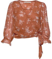 chiffon wrap blouse blus långärmad orange abercrombie & fitch