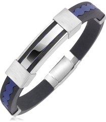 forzieri designer men's bracelets, rubber and stainless steel bracelet