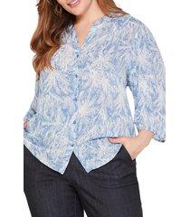 plus size women's nic+zoe bursting palms shirt, size 3x - blue