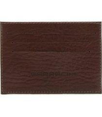 porta cartão couro ferracini logo marrom