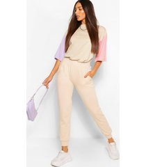 tall colour block sleeve oversized t-shirt, lilac