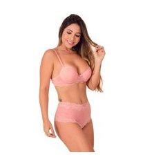 conjunto microfibra vip lingerie calcinha modeladora rosa