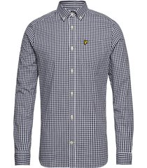 ls slim fit gingham shirt overhemd casual blauw lyle & scott