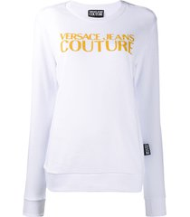 versace jeans couture caviar logo sweatshirt - white