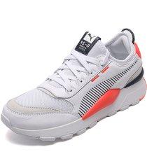 tenis lifestyle blanco-azul-naranja puma rs-0 core