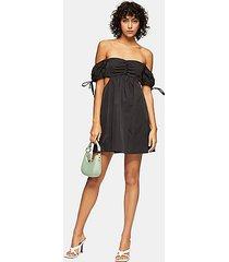 black cut out puff mini dress - black