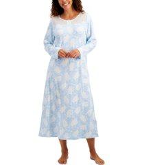 charter club cotton brushed knit printed nightgown, created for macy's