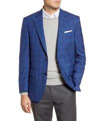 men's big & tall peter millar classic fit plaid wool sport coat, size 50r - blue