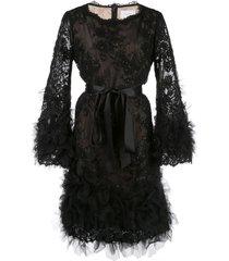 marchesa beaded tie-waist dress - black