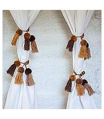 cotton curtain tiebacks, 'autumn meditation' (set of 4) (mexico)