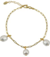 argento vivo freshwater pearl (5-5-1/2mm) dangle charm bracelet in 18k gold-plated sterling silver