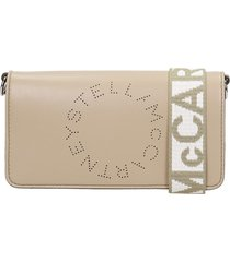 stella mccartney clutch in taupe faux leather