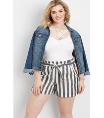 maurices plus size womens stripe linen paperbag waist 4in shorts